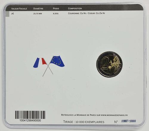 Zertifikat :Frankreich : 2 Euro 30 Jahre Europäische Flagge  2015 Stgl.