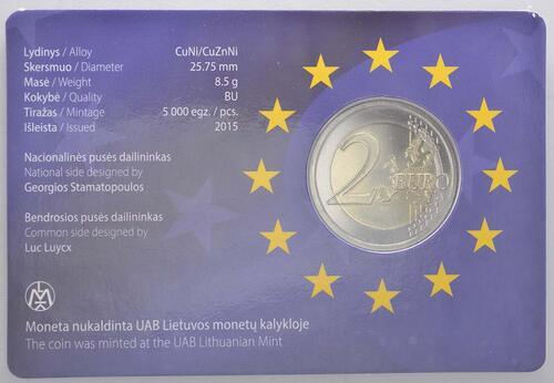 Zertifikat:Litauen : 2 Euro 30 Jahre Europäische Flagge  2015 Stgl.