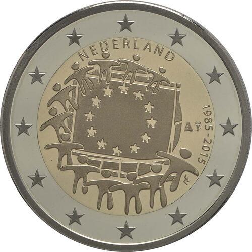 Rückseite :Niederlande : 2 Euro 30 Jahre Europäische Flagge  2015 PP