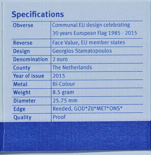 Zertifikat :Niederlande : 2 Euro 30 Jahre Europäische Flagge  2015 PP