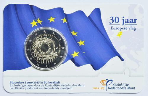 Rückseite:Niederlande : 2 Euro 30 Jahre Europäische Flagge  2015 Stgl.
