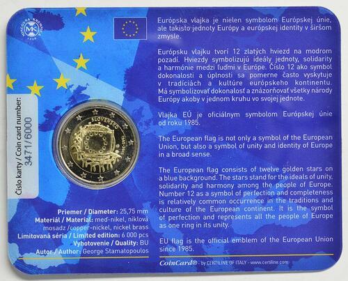 Zertifikat :Slowakei : 2 Euro 30 Jahre Europäische Flagge  2015 Stgl.