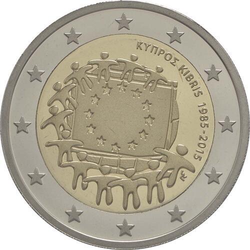 Rückseite :Zypern : 2 Euro 30 Jahre Europäische Flagge  2015 PP