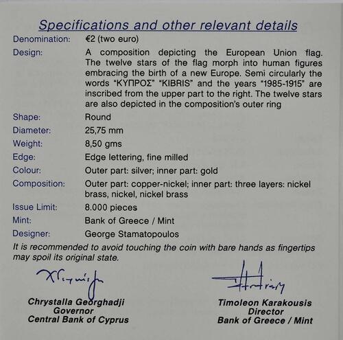 Zertifikat :Zypern : 2 Euro 30 Jahre Europäische Flagge  2015 PP