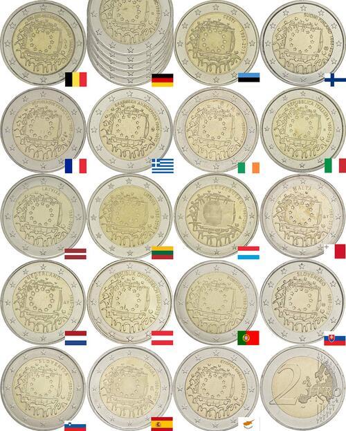 Lieferumfang :International : 2 Euro 30 Jahre Europäische Flagge Komplettsatz B,D (alle 5 Prägebuchstaben A-J), EST,FIN,F,GR,IRL,I,LV,LT,L,M,NL, A, P,SK,SLO,E,CY  2015 bfr