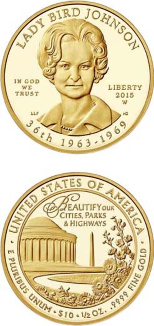 "Lieferumfang :USA : 10 Dollar Claudia Taylor ""Lady Bird"" Johnson  2015 PP"