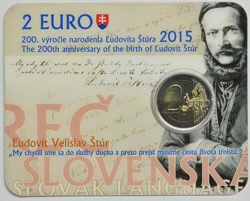 Lieferumfang :Slowakei : 2 Euro 200. Jahrestag der Geburt von Ludovít Stur  2015 Stgl.