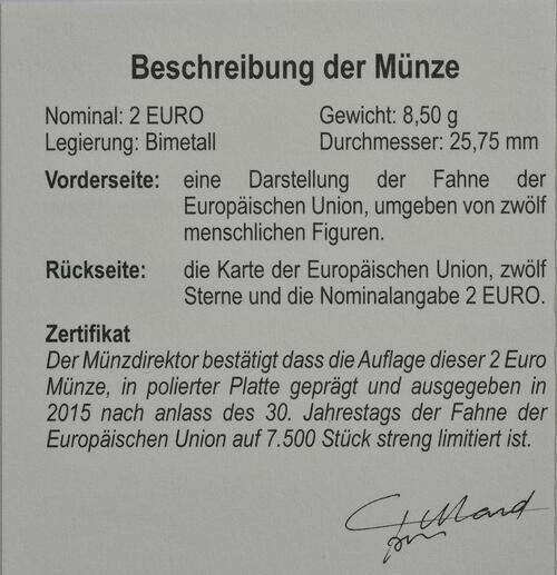 Zertifikat:Belgien : 2 Euro 30 Jahre Europäische Flagge  2015 PP