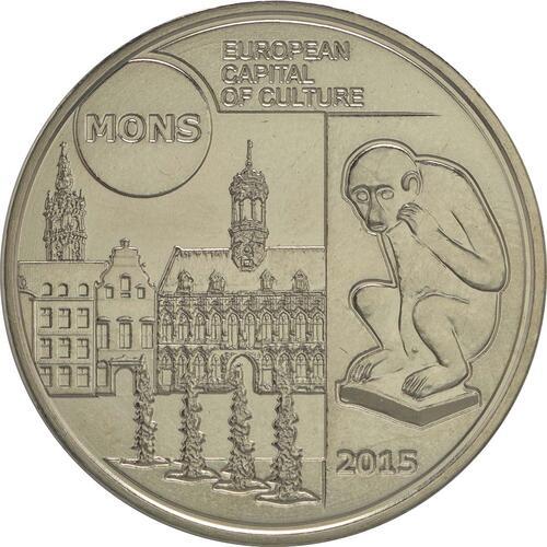 Vorderseite:Belgien : 5 Euro Mons europäische Kulturhauptstadt 2015  2015 Stgl.
