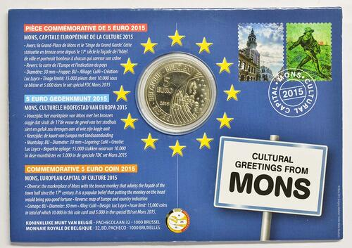 Zertifikat:Belgien : 5 Euro Mons europäische Kulturhauptstadt 2015  2015 Stgl.