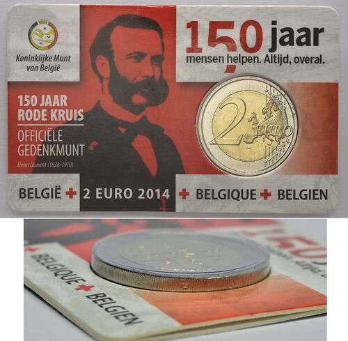 Lieferumfang:Belgien : 2 Euro 150 Jahre Rotes Kreuz in Belgien - Fehlprägung Randschrift Italien *2*2  2014 Stgl.