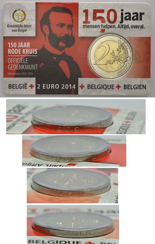 Lieferumfang :Belgien : 2 Euro 150 Jahre Rotes Kreuz in Belgien - Fehlprägung Randschrift GOD * ZIJ * MET * ONS  2014 Stgl.