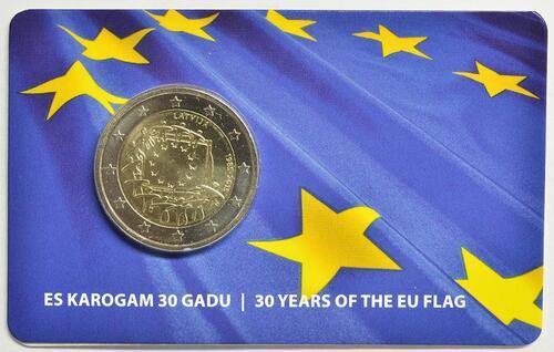 Lieferumfang:Lettland : 2 Euro 30 Jahre Europäische Flagge  2015 Stgl.