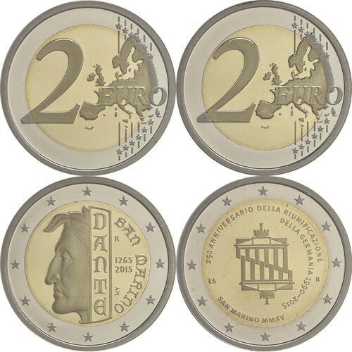 Lieferumfang:San Marino : 2 Euro Set aus 2x2 Euro Dante und Wiedervereinigung  2015 PP
