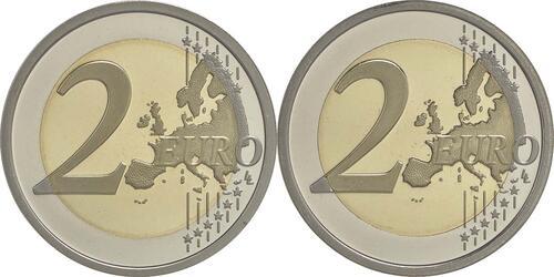 Vorderseite :San Marino : 2 Euro Set aus 2x2 Euro Dante und Wiedervereinigung  2015 PP