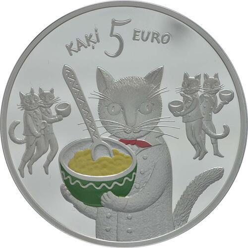 Vorderseite:Lettland : 5 Euro Lettische Märchen 5 Katzen  2015 PP