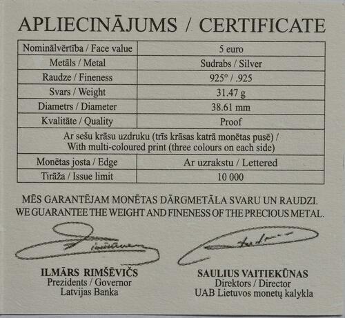 Zertifikat:Lettland : 5 Euro Lettische Märchen 5 Katzen  2015 PP