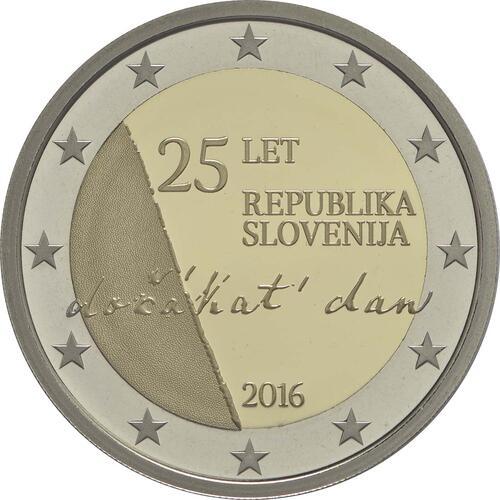 Rückseite :Slowenien : 2 Euro 25 Jahre Unabhängigkeit Sloweniens  2016 PP