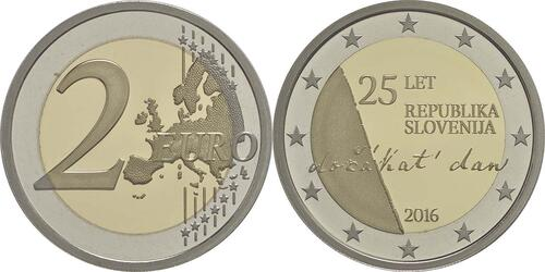 Lieferumfang :Slowenien : 2 Euro 25 Jahre Unabhängigkeit Sloweniens  2016 PP