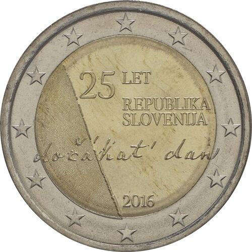 Rückseite :Slowenien : 2 Euro 25 Jahre Unabhängigkeit Sloweniens  2016 bfr