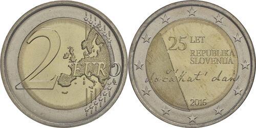 Lieferumfang :Slowenien : 2 Euro 25 Jahre Unabhängigkeit Sloweniens  2016 bfr