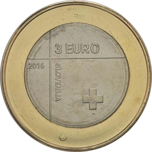 Rückseite:Slowenien : 3 Euro 150 Jahre Rotes Kreuz  2016 bfr