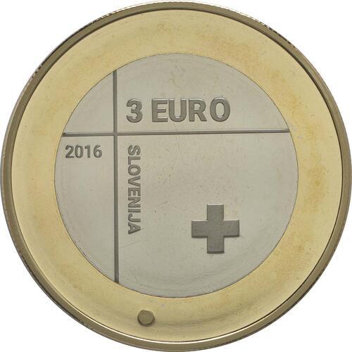 Rückseite:Slowenien : 3 Euro 150 Jahre Rotes Kreuz  2016 PP