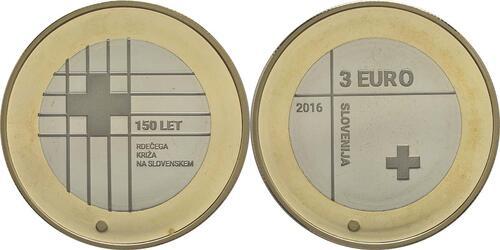Lieferumfang:Slowenien : 3 Euro 150 Jahre Rotes Kreuz  2016 PP