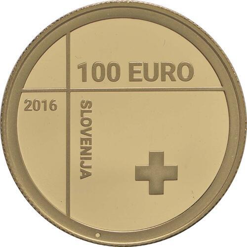 Rückseite:Slowenien : 100 Euro 150 Jahre Rotes Kreuz  2016 PP