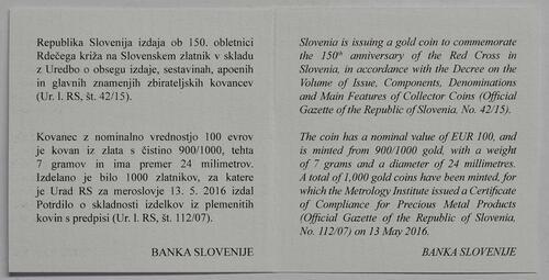 Zertifikat:Slowenien : 100 Euro 150 Jahre Rotes Kreuz  2016 PP
