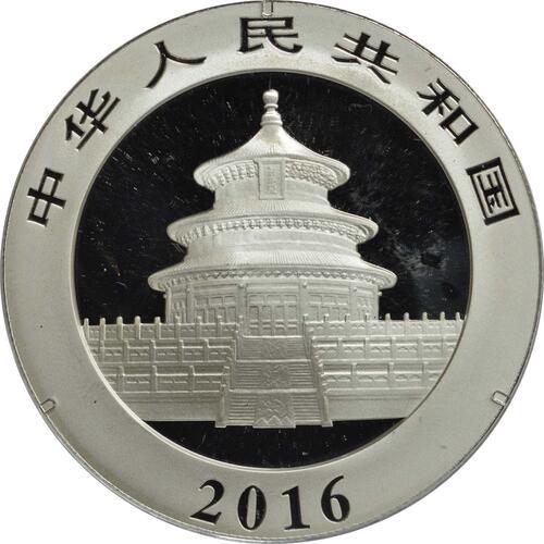 Rückseite:China : 10 Yuan Silberpanda farbig - Variante 2  2016 Stgl.