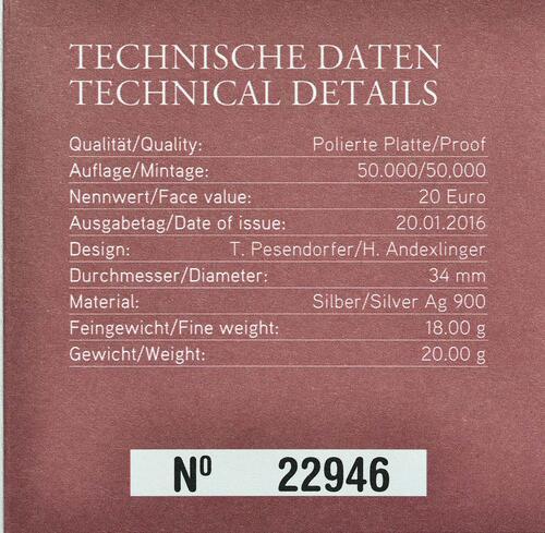 Zertifikat:Österreich : 20 Euro Wiener Opernball  2016 PP