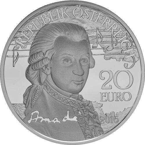 Vorderseite:Österreich : 20 Euro Mozart das Genie  2016 PP