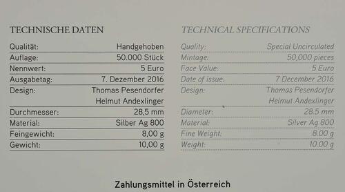 Zertifikat:Österreich : 5 Euro Neujahr: 150 Jahre Donauwalzer  2017 Stgl.