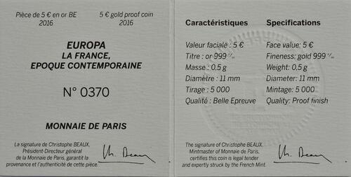 Zertifikat:Frankreich : 5 Euro Zeitgenössisches Europa Yves S. Laurent  2016 PP