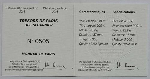 Zertifikat:Frankreich : 10 Euro Garnier Oper - teilvergoldet  2016 PP