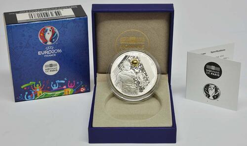 Lieferumfang:Frankreich : 10 Euro Kopfball - plastisch teilvergoldet  2016 PP