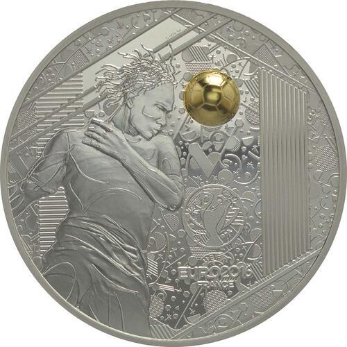 Vorderseite:Frankreich : 10 Euro Kopfball - plastisch teilvergoldet  2016 PP