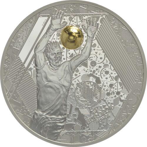 Vorderseite:Frankreich : 10 Euro Torwart - plastisch teilvergoldet  2016 PP