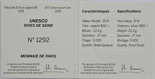 Zertifikat:Frankreich : 10 Euro Ufer der Seine  2016 PP