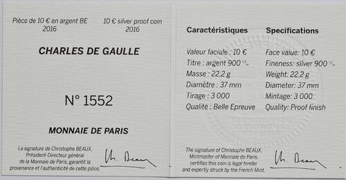 Zertifikat:Frankreich : 10 Euro Charles de Gaulle  2016 PP