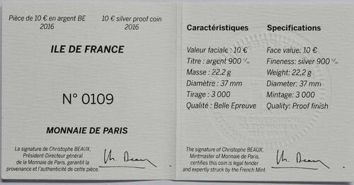 Zertifikat:Frankreich : 10 Euro Ile de France  2016 PP