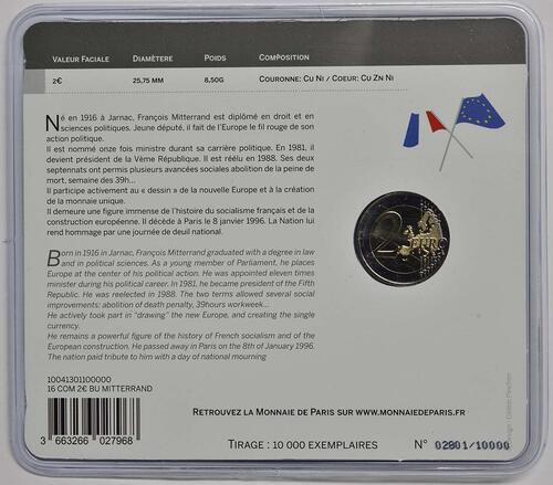 Rückseite :Frankreich : 2 Euro Mitterrand  2016 Stgl.