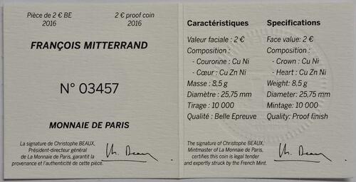 Zertifikat:Frankreich : 2 Euro Mitterrand  2016 PP