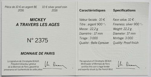 Zertifikat:Frankreich : 10 Euro Micky Maus im Wandel der Zeit  2016 PP