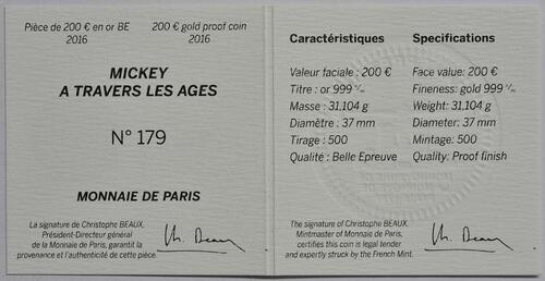 Zertifikat:Frankreich : 200 Euro Micky Maus im Wandel der Zeit  2016 PP