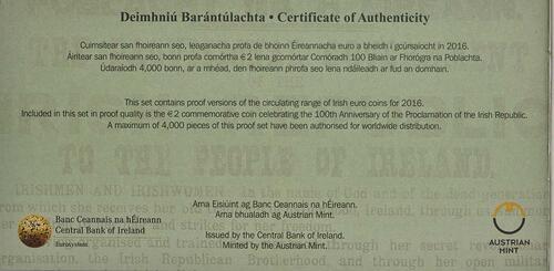 Zertifikat:Irland : 5,88 Euro KMS Irland inkl. 2 Euro Gedenkmünze Osteraufstand  2016 PP