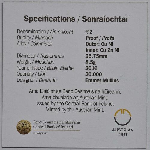 Zertifikat :Irland : 2 Euro 100 Jahre Osteraufstand 1916  2016 PP