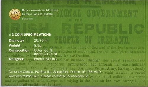 Zertifikat:Irland : 2 Euro 100 Jahre Osteraufstand 1916  2016 bfr