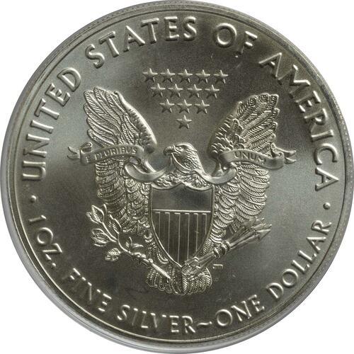 Rückseite :USA : 1 Dollar Silber Eagle - teilvergoldet  2016 Stgl.